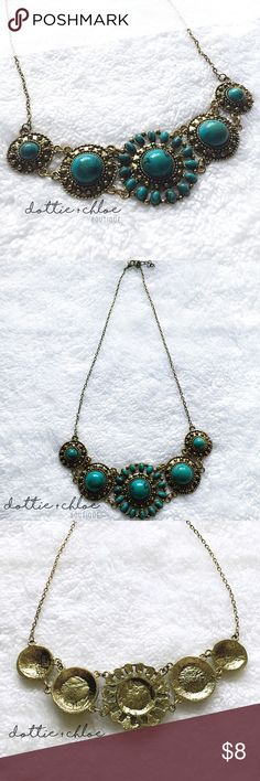 Bohemian Inspired Turquoise Statement Necklace Such a fun piece! So many ways you could style this necklace.   Previously SOLD OUT in my other closet. I've restocked and moved it to this closet.   No trades. Price is firm. I love to bundle!! dottie + chloe Jewelry Necklaces