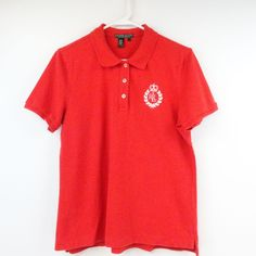 RALPH LAUREN ACTIVE Women's Large Tennis Golf Red Cotton Polo Shirt  #RalphLauren #ShirtsTops