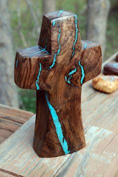 """Walnut Standing Cross with Turquoise Inlay 8 """" high x wide My talented husband makes these crosses by hand. A woodworker at heart, he sees the cross within the wood and it never fails to amaze me. Wooden Crosses, Wall Crosses, Art Sculpture, Sculptures, Wood Projects, Woodworking Projects, Cross Art, Walnut Wood, Resin Art"""