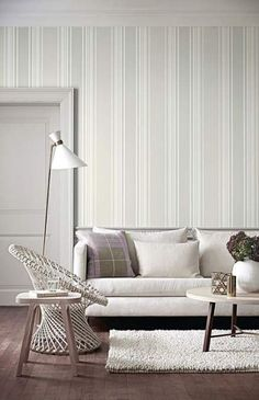 Elegant living room wall colour ideas matching with furniture 00008 ~ Home Decoration Inspiration Striped Wallpaper Design, Wallpaper Design For Bedroom, Wallpaper Decor, Wallpaper Ideas, Tartan Wallpaper, Wallpaper Designs, Room Wall Colors, Paint Colors For Living Room, Living Room Decor