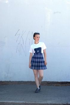 Deep blue checkered skirt with white lines, school girl Checkered Skirt, Levi Shorts, The Girl Who, Deep Blue, Short Skirts, Perfect Fit, Hipster, Etsy Shop, Trending Outfits