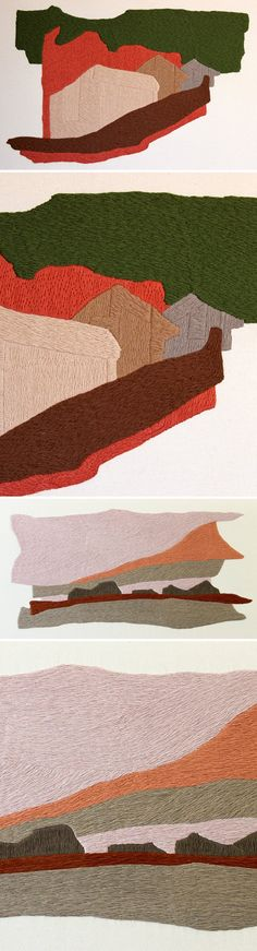 defne tesal - embroidered landscapes on fabric <3