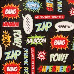 black comic Ka Boom premium laminate fabric Robert Kaufman