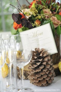 Woodland Themed Table Setting with Pine Cone   Place Setting Holder