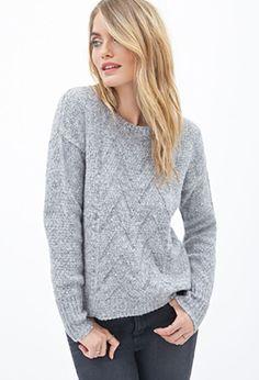 LOVE 21 Chevron Knit Crewneck Sweater Heather Grey