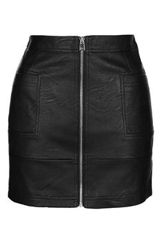 PETITE PU Zip Through Skirt