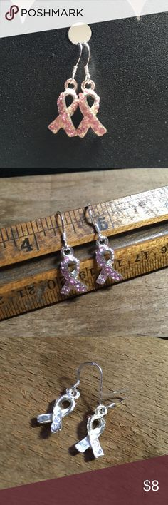 Sterling Pink Ribbon Earrings Sparkling pink stone embellished ribbon charms stamped 925.  I have made these into earrings to spread the important message of  breast cancer awareness.  I used Sterling silver ear wires.  Handmade, new never worn. Jewelry Earrings