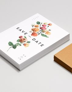 Wedding Invitation Trends for 2017 | Simple Modern Floral Wedding Save the Dates