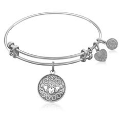 Expandable Bangle in White Tone Brass with Claddagh Love And Friendship Symbol...