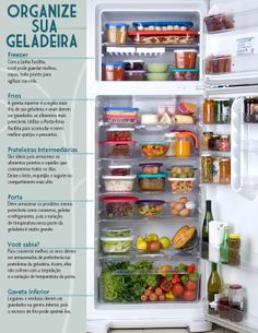 Como organizar a geladeira Fridge Organization, Organization Hacks, Organized Fridge, Personal Organizer, Home Hacks, Getting Organized, Kitchen Storage, Clean House, Interior Design Living Room