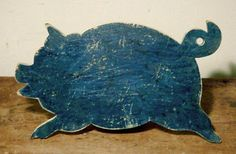 Blue Leaping Pig Cutting Board