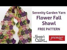 Flower Fall Shawl Free Crochet Pattern - Right Handed. Buy Deborah Norville Serenity Garden yarn here: . Crochet Flower Scarf, Crochet Shawls And Wraps, Crochet Scarves, Crochet Flowers, Crochet Sweaters, Cute Crochet, Hand Crochet, Crochet Fall, Left Handed Crochet