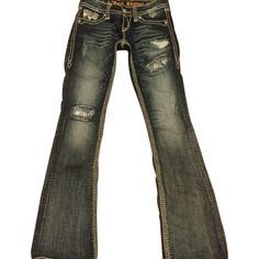 Pre-owned Rock Revival Boot Cut Jeans ($144) ❤ liked on Polyvore featuring jeans, distressed, boot-cut jeans, distressing jeans, black ripped jeans, distressed bootcut jeans and torn jeans