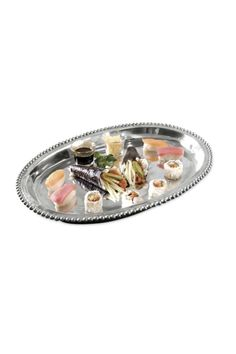 "Small Beaded Deep Oval Tray  Pewter Serverware  Item # :	 9796  Size:	18.5"" Beaded Oval Platter by Walker's. Home & Gifts - Home Decor - Dining - Serveware Alabama"