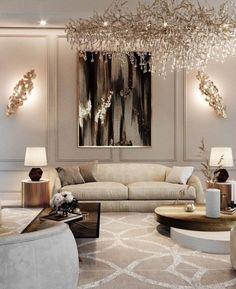 Classic Living Room, Elegant Living Room, Home Living Room, Living Room Decor, Room Interior, Interior Design Living Room, Living Room Designs, Interior Home Decoration, Interior Ideas