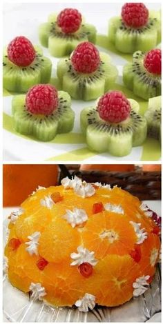 Fresh Fruit Food Art recipe for orange dome? lots of other great ideas ~ translation