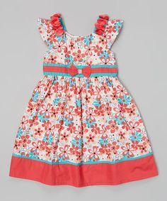 Red & Turquoise Daisy Bow Sash Dress - Girls