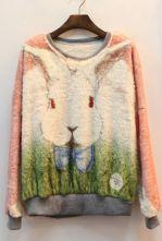 Pink Long Sleeve Rabbit Pattern Sweatshirt $31.45