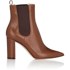 Gianvito Rossi Women's Myers Leather Chelsea Boots found on Polyvore featuring polyvore, women's fashion, shoes, boots, ankle booties, ankle boot, brown, high heel booties, chunky heel ankle boots and brown booties
