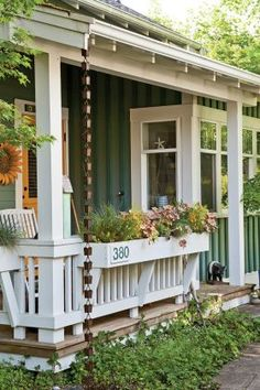Enchanting Pocket Neighborhood Cottage - Page 3 of 3 - Cottage Journal Cottage Front Porches, Small Porches, Beach Cottage Style, Beach House Decor, Cute Cottage, Large Backyard Landscaping, Landscaping Ideas, Big Backyard, Front Porch Railings