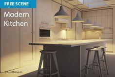 Free Cinema 4D Scene   Modern Kitchen