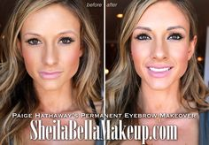 Watch Paige Hathaway's Eyebrow Transformation! : Sheila Bella Permanent Makeup - Watch Paige Hathaway's Eyebrow Transformation! Permanent Makeup Eyebrows, Semi Permanent Makeup, Eyebrow Makeup, Best Full Coverage Concealer, Natural Body Detox, Tattoo Ink Sets, Makeup Vanity Decor, Paige Hathaway, Long To Short Hair