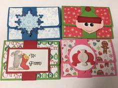 Lot of 4 Handmade  Pop-Up CHRISTMAS  GIFT CARD/MONEY HOLDER CARDS - Set 1 #Handmade #Christmas