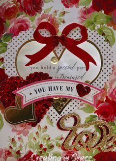 5x7 Shaker Valentine card filled w gold sequins. Inside has a sweet sentiment saying You hold a special part of all that is treasured in my heart outside embellished w glitter red heart and Valentine sentiment banner You have my heart also embellished w gold and red glitter Love