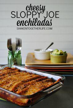 Cheesy Sloppy Joe Enchiladas from Shaken Together