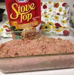 INGREDIENTS 1 Pound Ground Meat (Beef or Turkey) 1 Egg 1 Box Stuffing Mix 1 Cup Water How to make it Mix everything together, smoosh it into a loaf pan, and bake at 350 for about