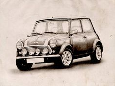 """""""Mini Copper Sketch"""" by Michael Tompsett, Castellon // Classic Austin Mini Cooper. The Mini was an iconic British car design, coming into production in 1959. The Mini Cooper was a sport version of the standard mini with a race-tuned engine, twin Su carburettors, closer-ratio gearbox and front disc brakes. The Cooper name came from the... // Imagekind.com -- Buy stunning, museum-quality fine art prints, framed prints, and canvas prints directly from independent working artists and…"""