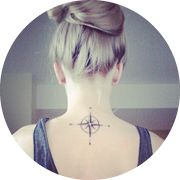 Small Compass Tattoo Design: On Upper Middle Back