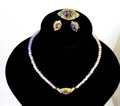 Vintage 1928 Jewelry Set Pink Venetian Glass Cabochons Pink