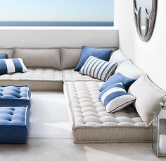 RH's Tufted French Floor Cushions:Hand-tufted in the style of a vintage French mattress, our floor cushion offers versatile, portable outdoor seating. Tailored from all-weather Perennials® with a linen-like weave, the fabric is impervious to fading and stains, weathering the elements for years to come.