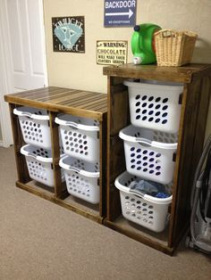Ideas Small Garage Organization Diy Laundry Rooms For 2019 Laundry Basket Holder, Laundry Basket Dresser, Laundry Basket Storage, Laundry Room Organization, Laundry Sorter, Laundry Drying, Laundry Closet, Diy Organization, Organizing
