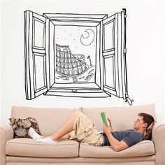 Rome Window Wall Sticker, now featured on Fab. Bedroom Drawing, Wall Drawing, Home Room Design, Home Design Plans, Mural Art, Wall Murals, Decoration, Art Decor, Home Decor