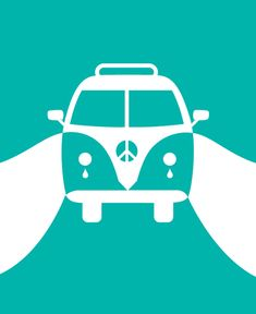 Illustrator Noma Bar simplistically captures a scene of 'mourning the hippy dream' in this work. The use of only one colour with the negative white space creates the basic shape of a van on the road. In addition, simply adding two tear shapes underneath the headlights produces a deeper story to the visual.