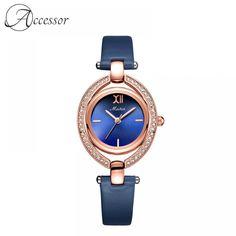 Blue Diamond Genuine Leather Quartz Watch  Price: 68.99 & FREE Shipping Elegant Watches, Quartz Watch, Free Delivery, Bracelet Watch, Free Shipping, Detail, Diamond, Leather, Blue