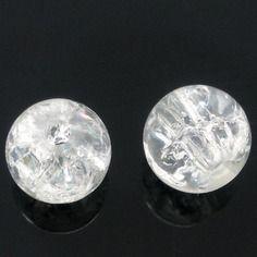 Lot 20 perles craquelées blanc verre 6 mm