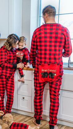 Bear Cheeks Red Plaid FlapJacks for the family Matching Christmas Pajamas, Matching Family Pajamas, Cozy Pajamas, Long Johns, Red Plaid, Snug, Christmas Sweaters, Onesies, Comfy
