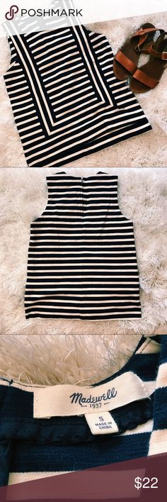 Madewell Navy and White Strip Tank Top Chic navy and white striped tank from Madewell (size small). Material is a thicker cotton so it's a more structured shirt. Only worn a few times, so it's in great condition! Madewell Tops Tank Tops