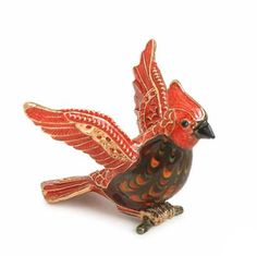 Cardinal Figurine. This gold plated, hand painted pewter and radiant art glass adorned with Swarovski crystals produce a sparkling miniature.