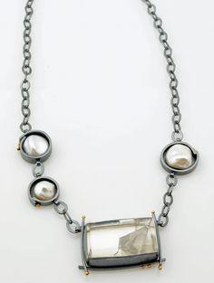 Glacier necklace by Sydney Lynch | Phantom quartz, keshi pearls, oxidized silver, 18k gold. Necklace is 18 inches long. $1,740. | http://sydneylynch.com/glacier-necklace/