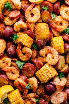 In all things simple, delicious, and mouth watering this Sheet Pan Garlic Shrimp Broil is going to do the trick. Loaded with jumbo shrimp, red potatoes, thick pieces of sausage and corn all dipped in a Creamy Chipotle Sauce. Shrimp Boil Recipe Old Bay, Shrimp Boil In Oven, Shrimp Boil Foil, Garlic Shrimp, Crawfish Recipes, Cajun Shrimp Recipes, Seafood Boil Recipes, Sausage And Shrimp Recipes, Andouille Sausage Recipes