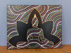 Buddha Dots-original dot art painting Original acrylic dot art painting on 16 x 20 inch canvas Art Buddha, Buddha Canvas, Buddha Painting, Dot Art Painting, Mandala Art, Mandala Painting, Hamsa Painting, Art Sur Toile, Art Diy
