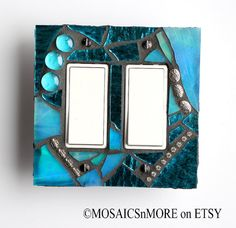 Shimmering Pool  -  Hand Made by Me  - Double Rocker/ GFCI Mosaic Light Switch Cover Wall Plate - Midway Size
