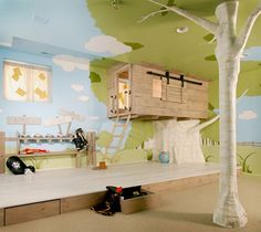 A treehouse themed kid's room, where the bed is burrowed in the treehouse