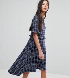 a6ebcf013b07 Vero Moda Tall Check Frill Skater Dress