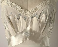 American silk nightgown, 1952 (detail of embroidery and monogram)