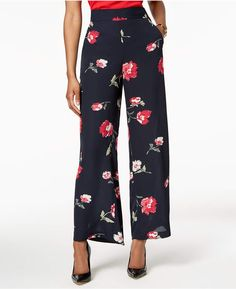 c73f2b47719 Nine West Floral-Print Wide-Leg Pants Women - Pants   Capris - Macy s